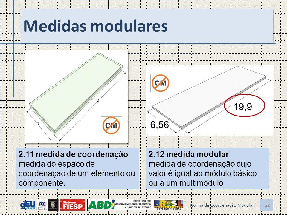 22 Medidas modulares 22 Norma de Coordenação Modular 2.11 medida de coordenação medida do espaço de coordenação de um elemento ou componente. 2.12 med