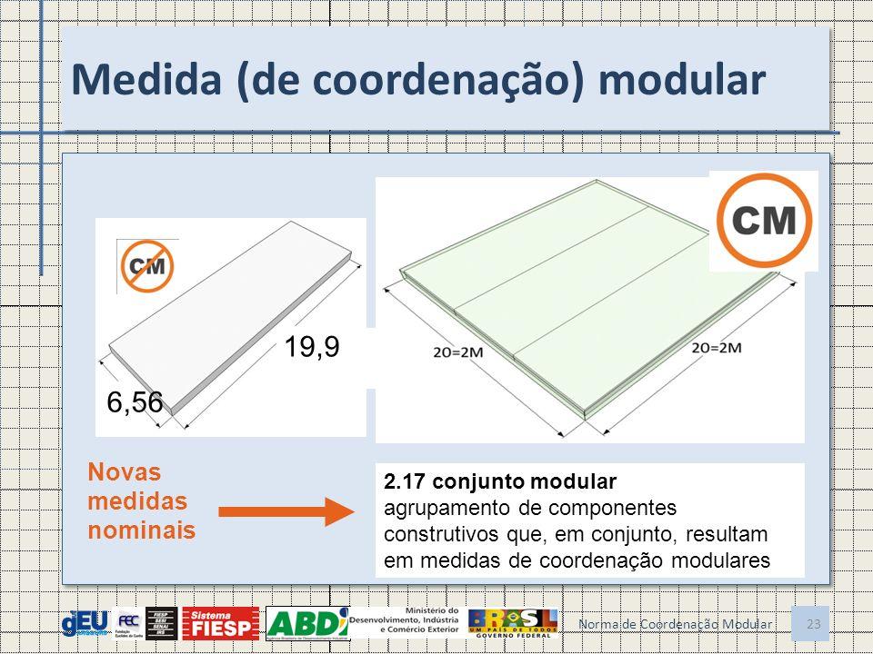 Medida (de coordenação) modular Norma de Coordenação Modular 23 19,9 6,56 Novas medidas nominais 2.17 conjunto modular agrupamento de componentes construtivos que, em conjunto, resultam em medidas de coordenação modulares