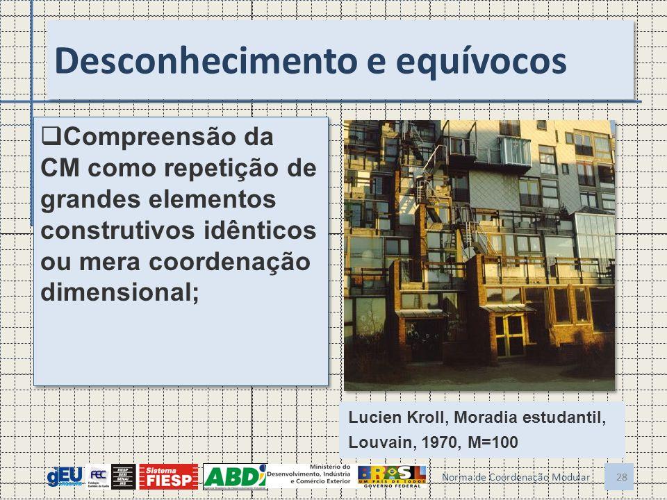 28 Desconhecimento e equívocos Compreensão da CM como repetição de grandes elementos construtivos idênticos ou mera coordenação dimensional; 28 Norma