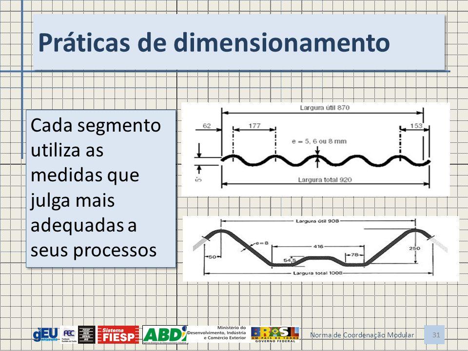 31 Práticas de dimensionamento 31 Norma de Coordenação Modular