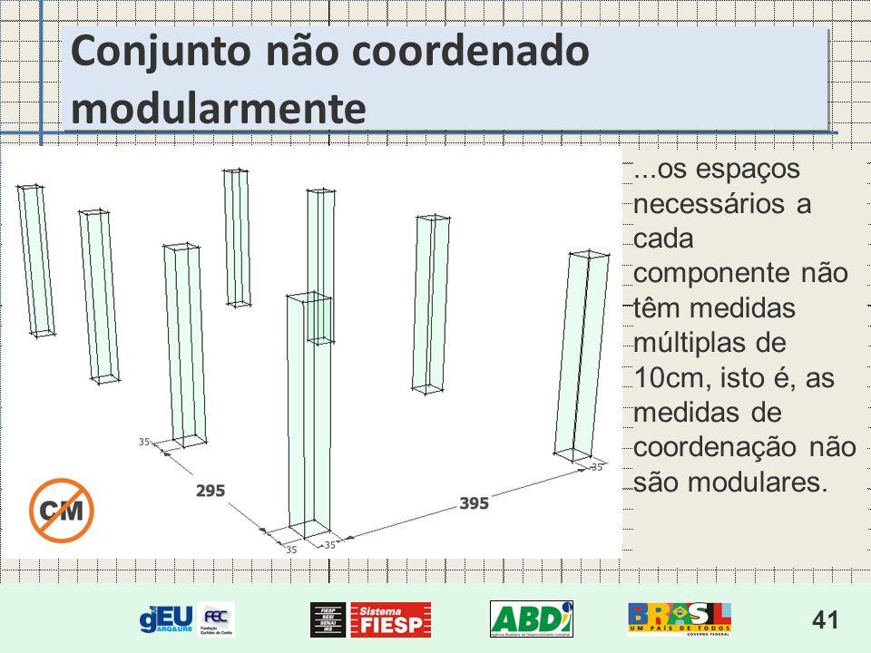 41...os espaços necessários a cada componente não têm medidas múltiplas de 10cm, isto é, as medidas de coordenação não são modulares.