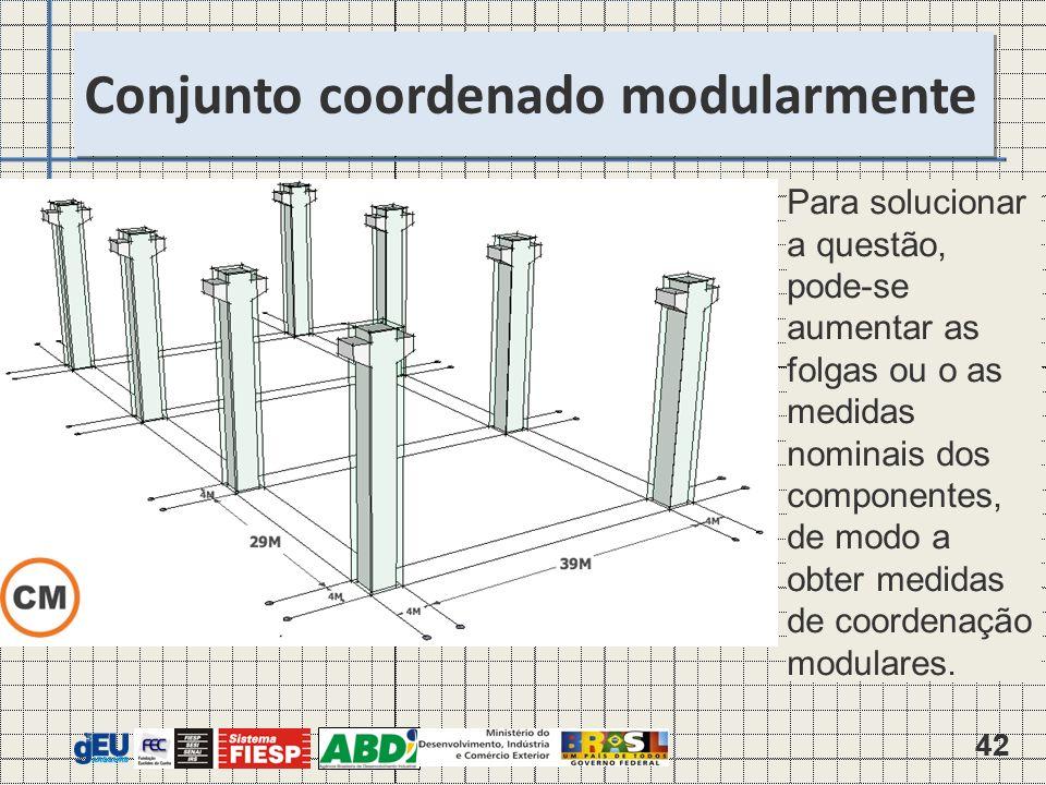 42 Para solucionar a questão, pode-se aumentar as folgas ou o as medidas nominais dos componentes, de modo a obter medidas de coordenação modulares.