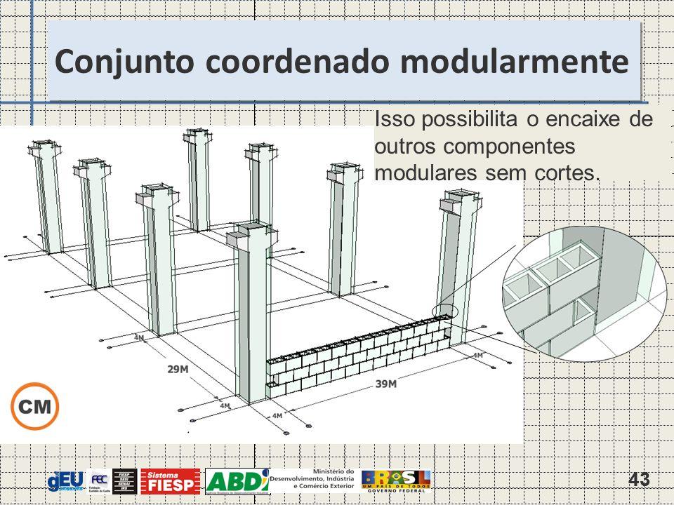 43 Isso possibilita o encaixe de outros componentes modulares sem cortes.