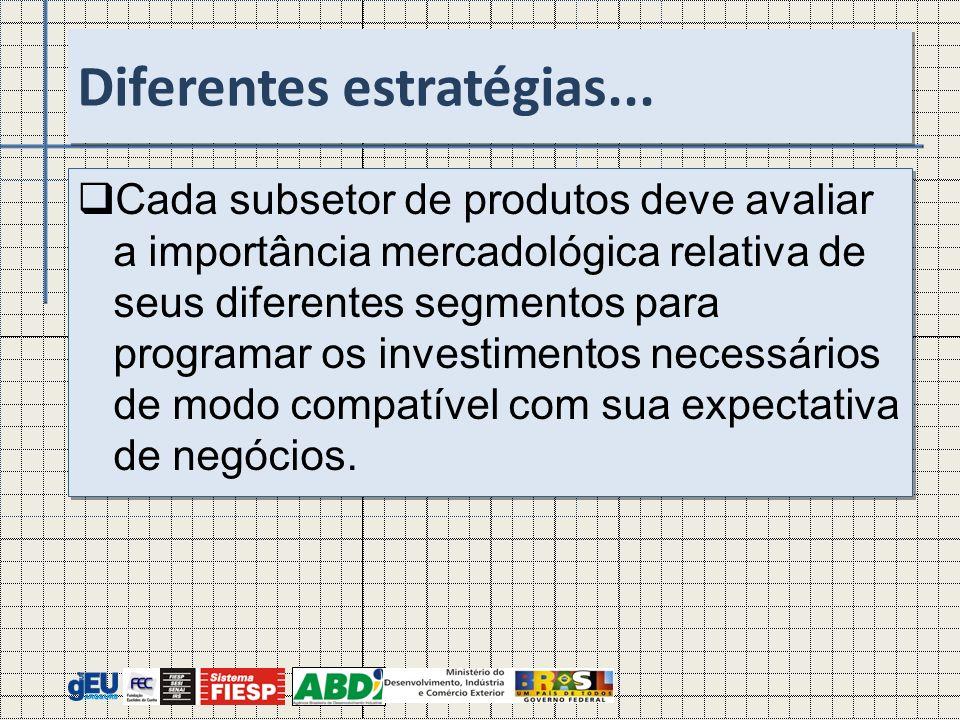 Cada subsetor de produtos deve avaliar a importância mercadológica relativa de seus diferentes segmentos para programar os investimentos necessários d