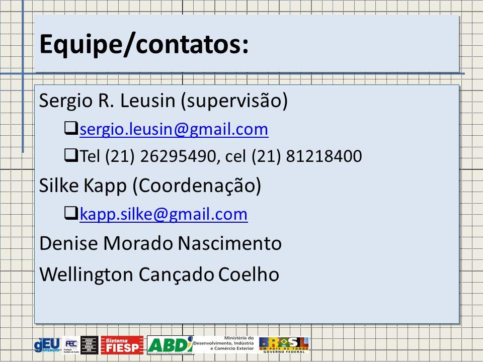 Sergio R. Leusin (supervisão) sergio.leusin@gmail.com Tel (21) 26295490, cel (21) 81218400 Silke Kapp (Coordenação) kapp.silke@gmail.com Denise Morado