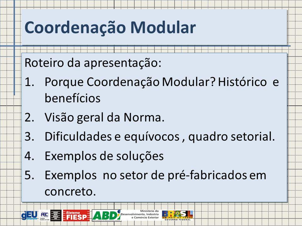 Roteiro da apresentação: 1.Porque Coordenação Modular? Histórico e benefícios 2. Visão geral da Norma. 3.Dificuldades e equívocos, quadro setorial. 4.