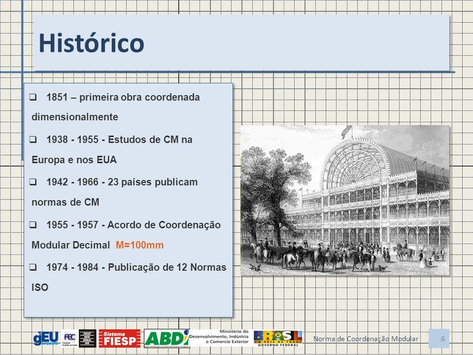 No Brasil 1950 - Primeira norma: NB 25-R - Modulação das Construções; 1969 - Revisão: NB-25 - Coordenação Modular da Construção;1970 - Plano de Implantação pelo CBC (Bouwcentrum) para o BNH; 1977 - NBR 5706 - Coordenação Modular da Construção; 1982 - Publicação de 24 normas sobre o tema, pouco conhecidas 1950 - Primeira norma: NB 25-R - Modulação das Construções; 1969 - Revisão: NB-25 - Coordenação Modular da Construção;1970 - Plano de Implantação pelo CBC (Bouwcentrum) para o BNH; 1977 - NBR 5706 - Coordenação Modular da Construção; 1982 - Publicação de 24 normas sobre o tema, pouco conhecidas 7 7 Faltaram flexibilidade na concepção e ações sistemáticas de implementação.