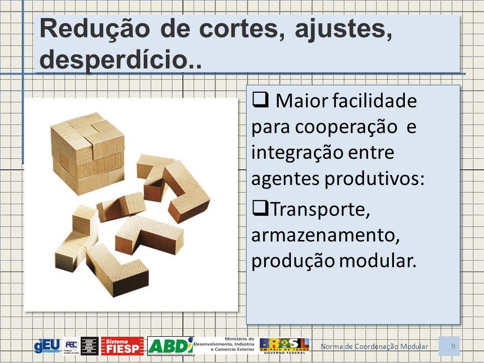 9 Redução de cortes, ajustes, desperdício.. Maior facilidade para cooperação e integração entre agentes produtivos: Transporte, armazenamento, produçã