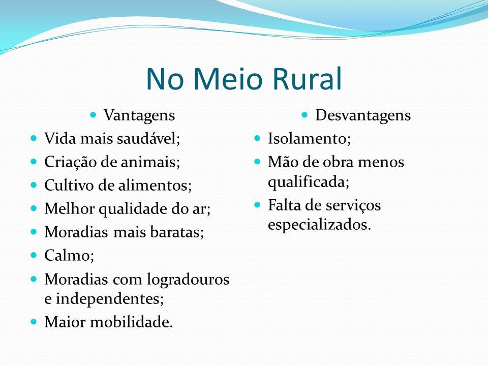 No Meio Rural Vantagens Vida mais saudável; Criação de animais; Cultivo de alimentos; Melhor qualidade do ar; Moradias mais baratas; Calmo; Moradias c