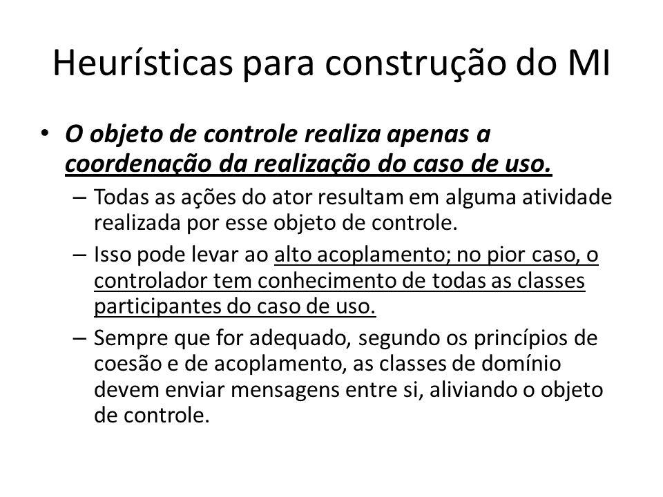 Heurísticas para construção do MI O objeto de controle realiza apenas a coordenação da realização do caso de uso. – Todas as ações do ator resultam em