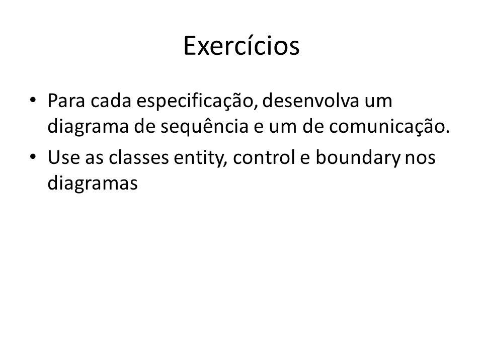 Exercícios Para cada especificação, desenvolva um diagrama de sequência e um de comunicação. Use as classes entity, control e boundary nos diagramas