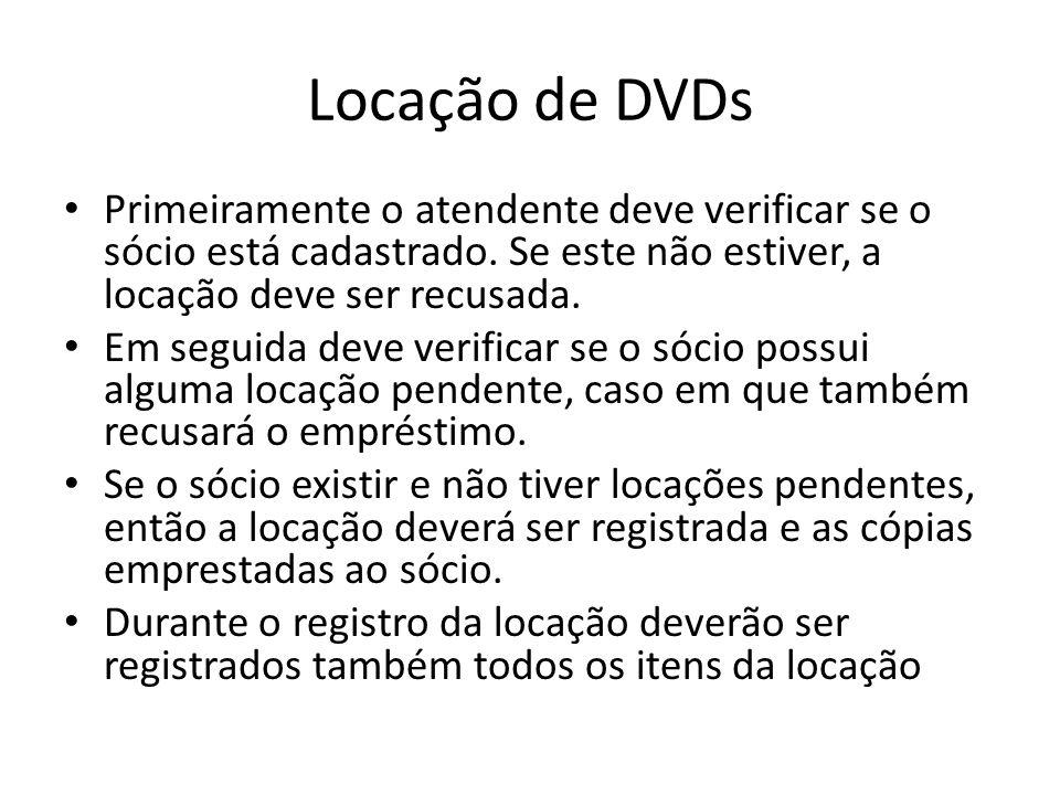 Locação de DVDs Primeiramente o atendente deve verificar se o sócio está cadastrado. Se este não estiver, a locação deve ser recusada. Em seguida deve