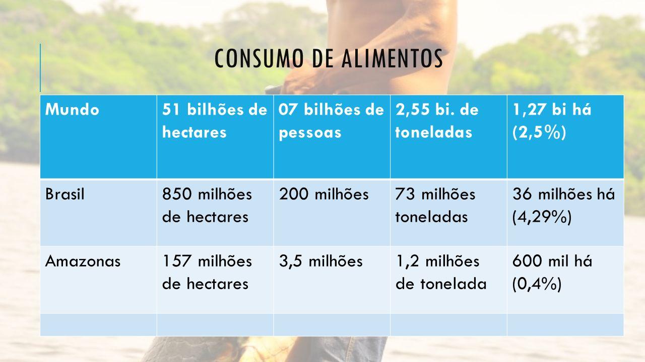 CONSUMO DE ALIMENTOS Mundo51 bilhões de hectares 07 bilhões de pessoas 2,55 bi. de toneladas 1,27 bi há (2,5%) Brasil850 milhões de hectares 200 milhõ
