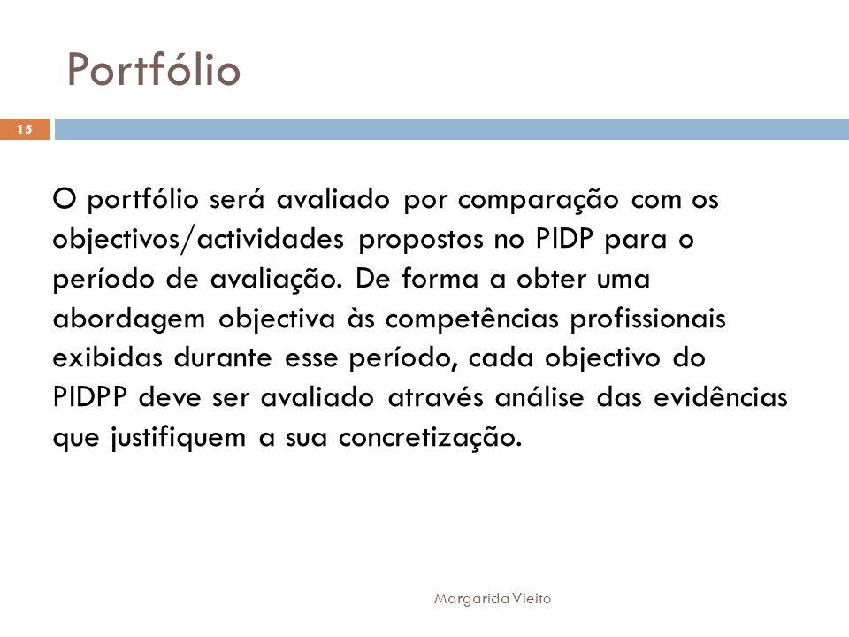 Portfólio O portfólio será avaliado por comparação com os objectivos/actividades propostos no PIDP para o período de avaliação. De forma a obter uma a