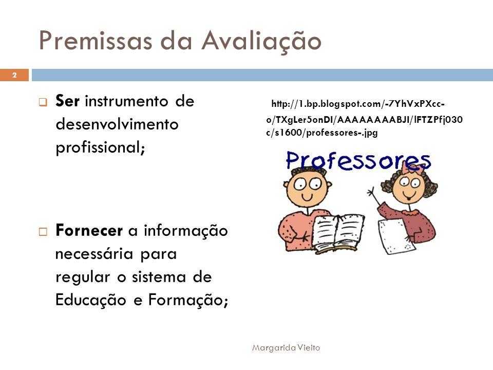 Premissas da Avaliação Ser instrumento de desenvolvimento profissional; Fornecer a informação necessária para regular o sistema de Educação e Formação