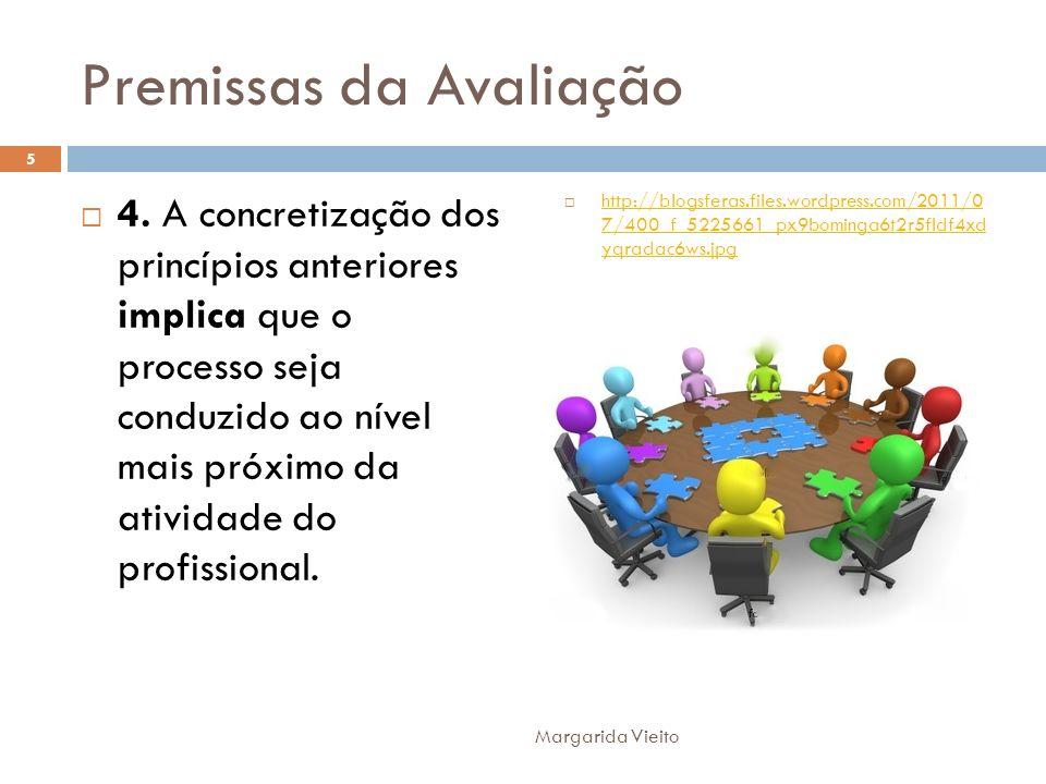 Premissas da Avaliação 4. A concretização dos princípios anteriores implica que o processo seja conduzido ao nível mais próximo da atividade do profis