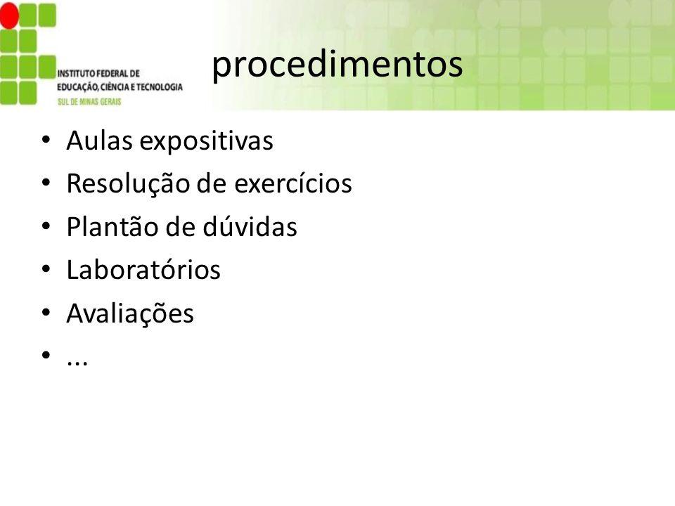 procedimentos Aulas expositivas Resolução de exercícios Plantão de dúvidas Laboratórios Avaliações...
