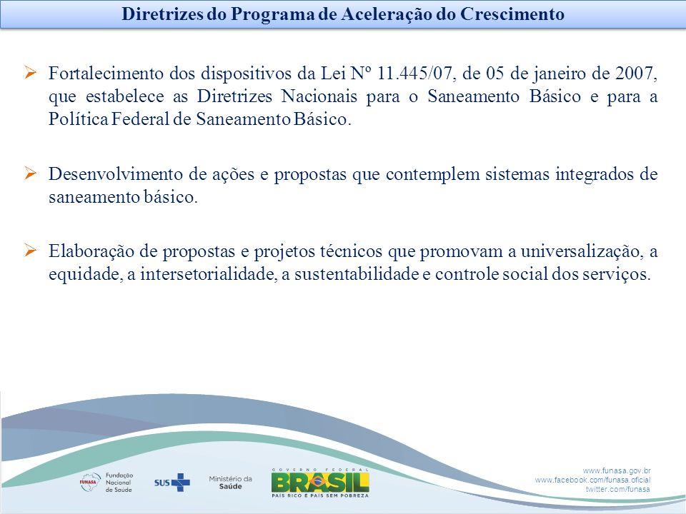 www.funasa.gov.br www.facebook.com/funasa.oficial twitter.com/funasa Fortalecimento dos dispositivos da Lei Nº 11.445/07, de 05 de janeiro de 2007, qu