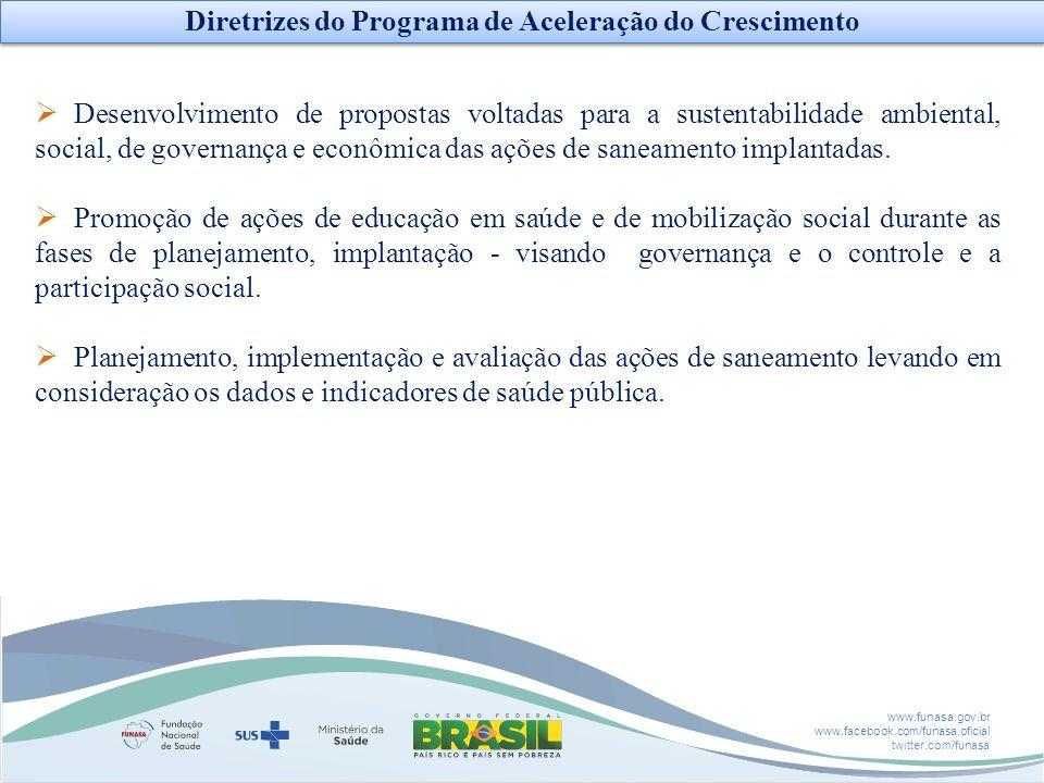 www.funasa.gov.br www.facebook.com/funasa.oficial twitter.com/funasa Desenvolvimento de propostas voltadas para a sustentabilidade ambiental, social,