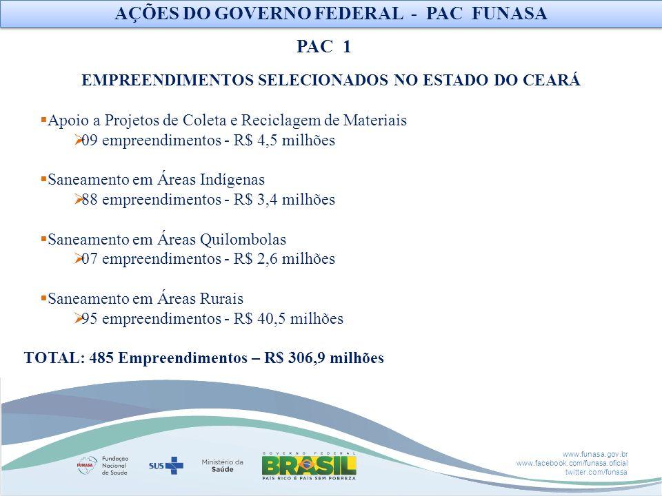 www.funasa.gov.br www.facebook.com/funasa.oficial twitter.com/funasa EMPREENDIMENTOS SELECIONADOS NO ESTADO DO CEARÁ Apoio a Projetos de Coleta e Reci