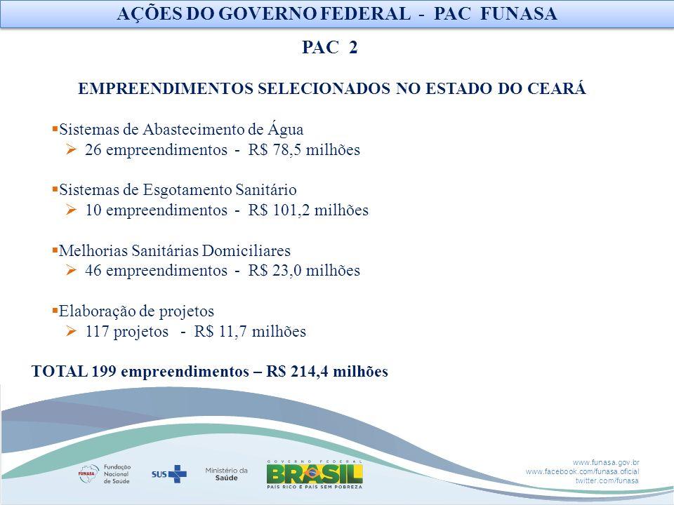 www.funasa.gov.br www.facebook.com/funasa.oficial twitter.com/funasa EMPREENDIMENTOS SELECIONADOS NO ESTADO DO CEARÁ Sistemas de Abastecimento de Água