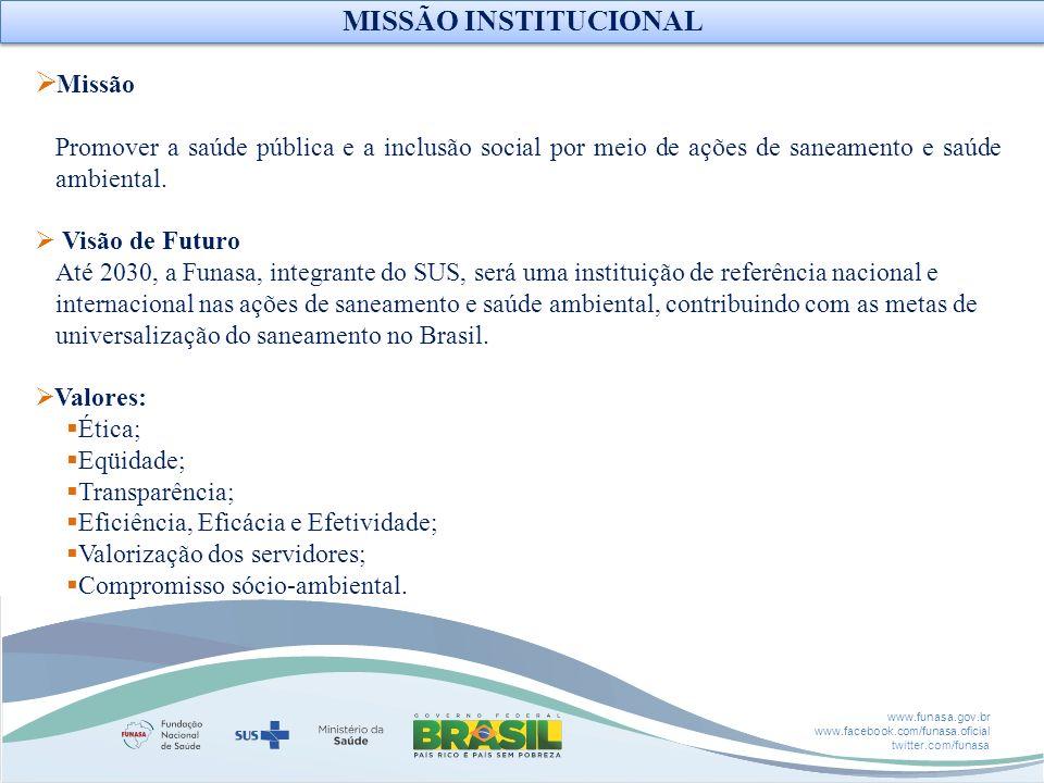 www.funasa.gov.br www.facebook.com/funasa.oficial twitter.com/funasa Missão Promover a saúde pública e a inclusão social por meio de ações de saneamen