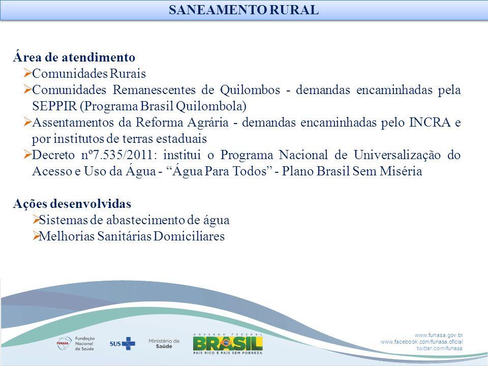 www.funasa.gov.br www.facebook.com/funasa.oficial twitter.com/funasa Área de atendimento Comunidades Rurais Comunidades Remanescentes de Quilombos - d