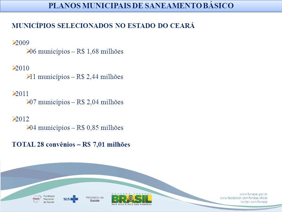 www.funasa.gov.br www.facebook.com/funasa.oficial twitter.com/funasa MUNICÍPIOS SELECIONADOS NO ESTADO DO CEARÁ 2009 06 municípios – R$ 1,68 milhões 2
