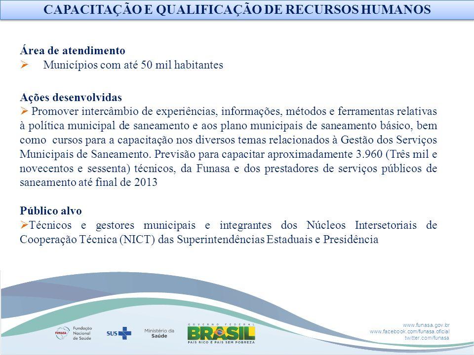 www.funasa.gov.br www.facebook.com/funasa.oficial twitter.com/funasa CAPACITAÇÃO E QUALIFICAÇÃO DE RECURSOS HUMANOS Área de atendimento Municípios com