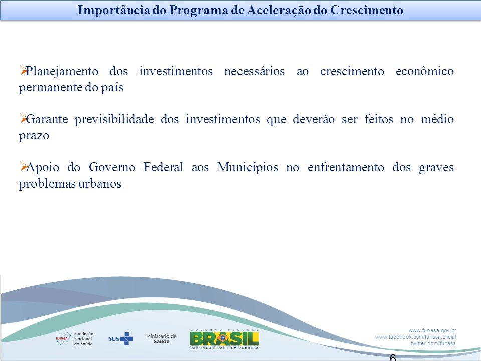 www.funasa.gov.br www.facebook.com/funasa.oficial twitter.com/funasa 6 Planejamento dos investimentos necessários ao crescimento econômico permanente