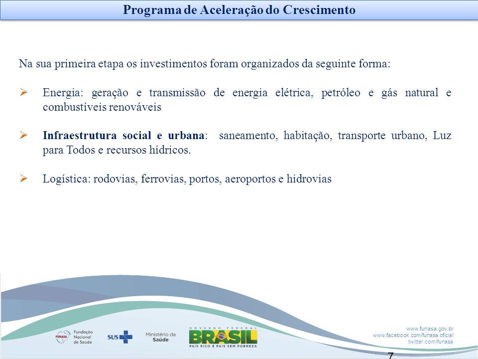 www.funasa.gov.br www.facebook.com/funasa.oficial twitter.com/funasa 7 Na sua primeira etapa os investimentos foram organizados da seguinte forma: Ene