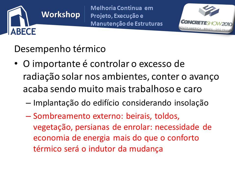 Workshop Desempenho térmico O importante é controlar o excesso de radiação solar nos ambientes, conter o avanço acaba sendo muito mais trabalhoso e ca