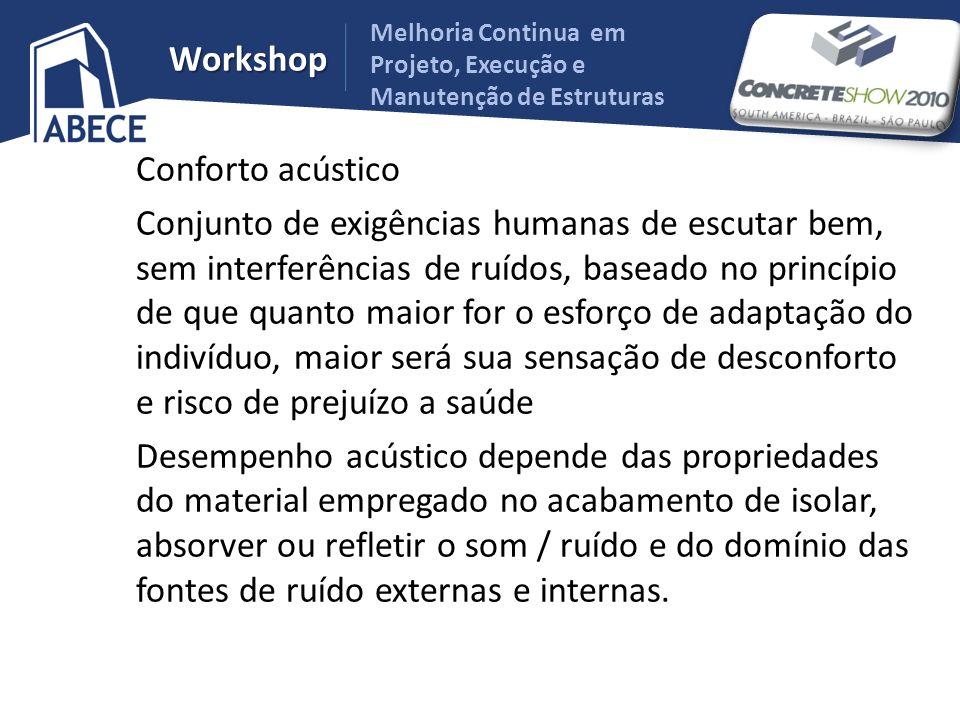 Melhoria Continua em Projeto, Execução e Manutenção de Estruturas Workshop Conforto acústico Conjunto de exigências humanas de escutar bem, sem interf