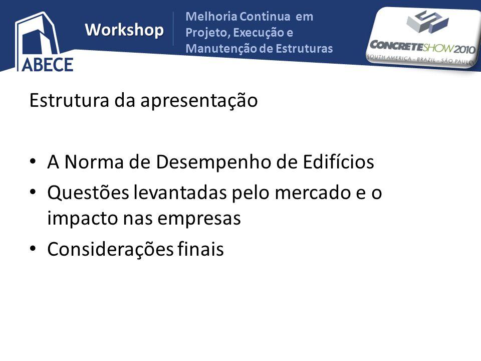 Melhoria Continua em Projeto, Execução e Manutenção de Estruturas Workshop Estrutura da apresentação A Norma de Desempenho de Edifícios Questões levan
