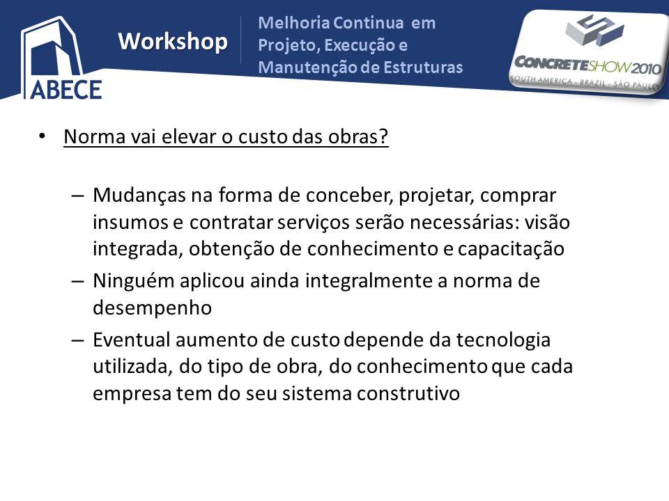 Melhoria Continua em Projeto, Execução e Manutenção de Estruturas Workshop Norma vai elevar o custo das obras? – Mudanças na forma de conceber, projet