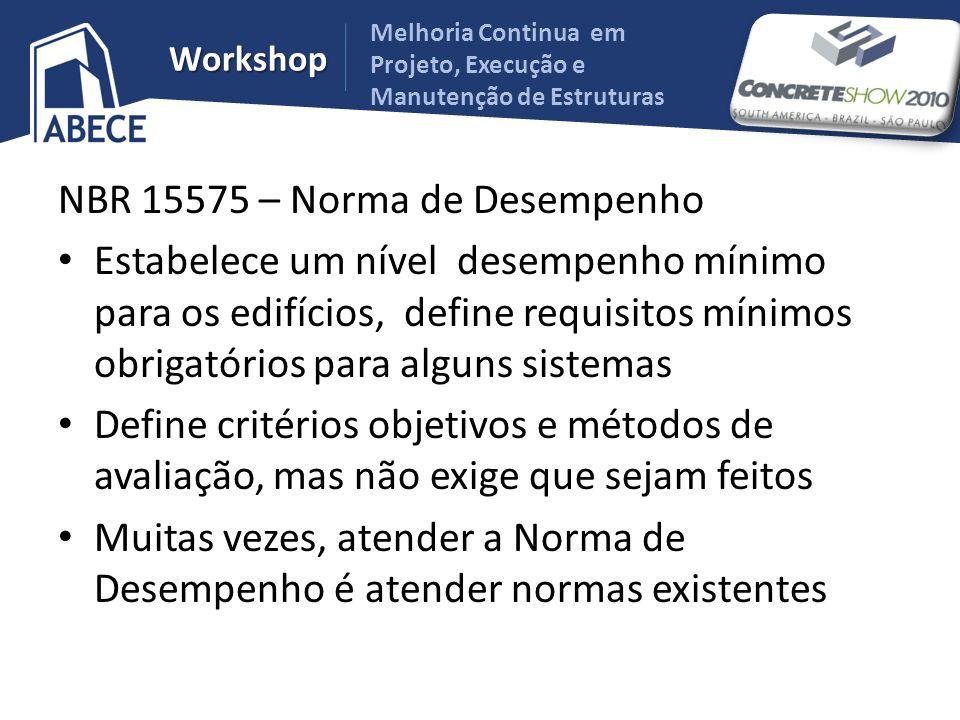 Melhoria Continua em Projeto, Execução e Manutenção de Estruturas Workshop NBR 15575 – Norma de Desempenho Estabelece um nível desempenho mínimo para