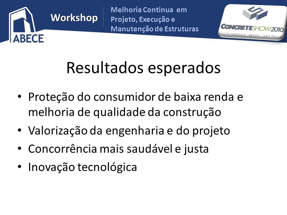 Melhoria Continua em Projeto, Execução e Manutenção de Estruturas Workshop Resultados esperados Proteção do consumidor de baixa renda e melhoria de qu
