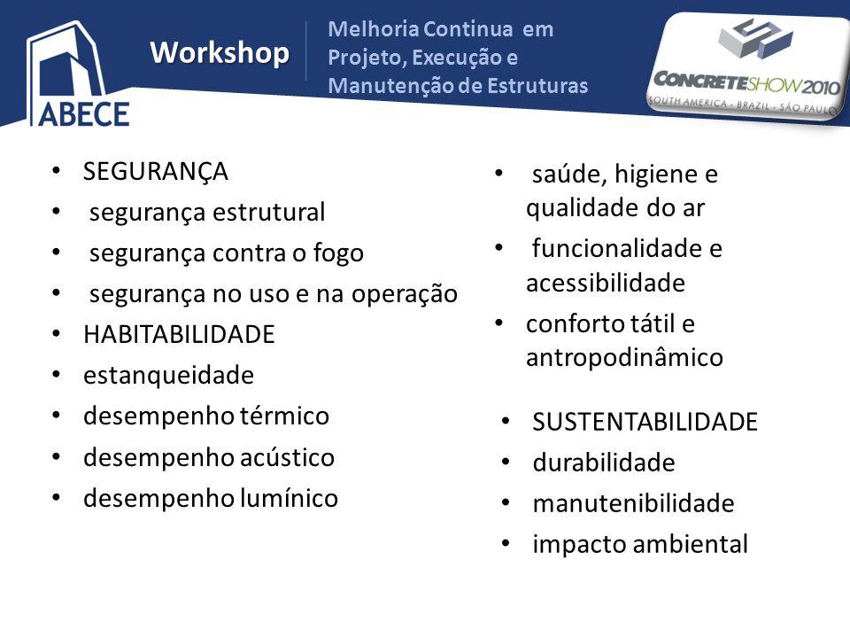 Melhoria Continua em Projeto, Execução e Manutenção de Estruturas Workshop SEGURANÇA segurança estrutural segurança contra o fogo segurança no uso e n