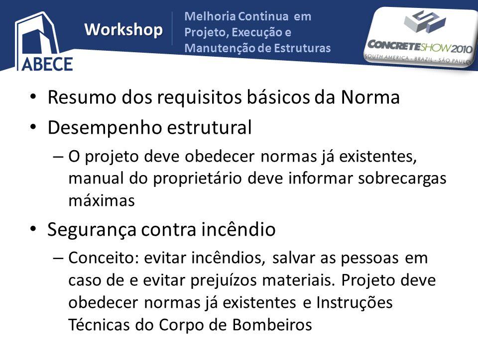Melhoria Continua em Projeto, Execução e Manutenção de Estruturas Workshop Resumo dos requisitos básicos da Norma Desempenho estrutural – O projeto de