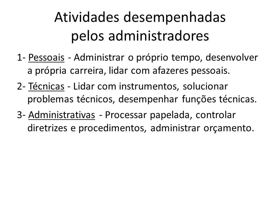 Atividades desempenhadas pelos administradores 1- Pessoais - Administrar o próprio tempo, desenvolver a própria carreira, lidar com afazeres pessoais.