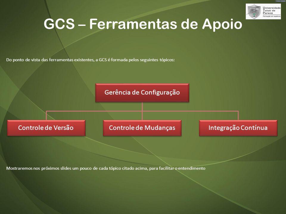 GCS – Ferramentas de Apoio Do ponto de vista das ferramentas existentes, a GCS é formada pelos seguintes tópicos: Mostraremos nos próximos slides um pouco de cada tópico citado acima, para facilitar o entendimento Gerência de Configuração Controle de VersãoControle de MudançasIntegração Contínua