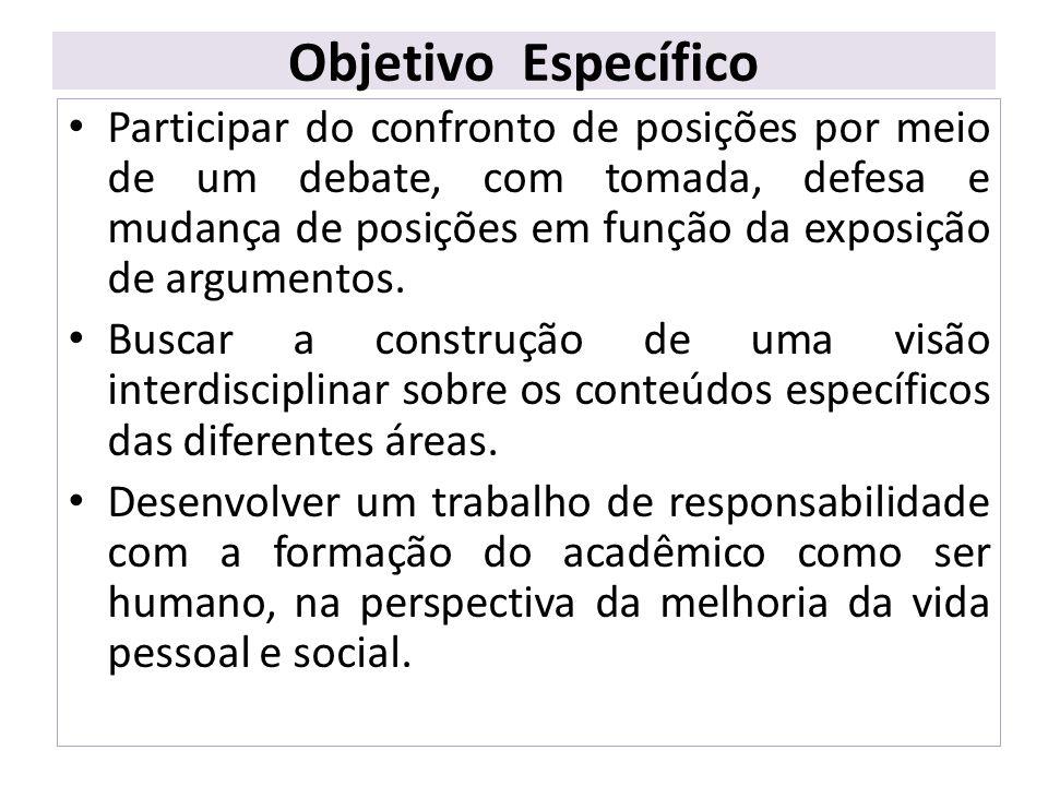 Objetivo Específico Participar do confronto de posições por meio de um debate, com tomada, defesa e mudança de posições em função da exposição de argu