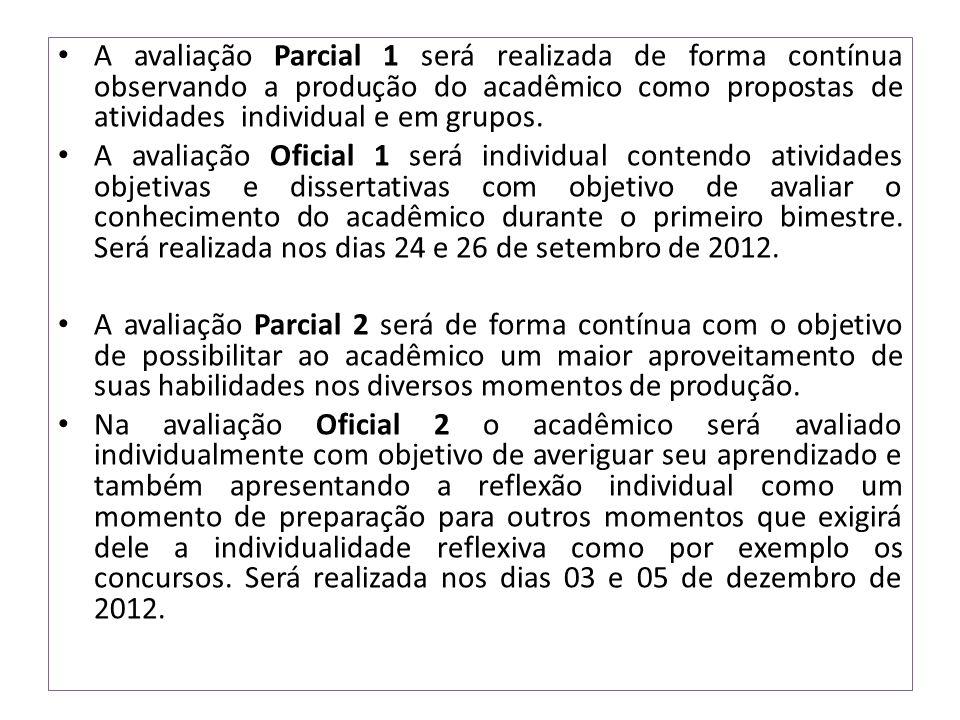 A avaliação Parcial 1 será realizada de forma contínua observando a produção do acadêmico como propostas de atividades individual e em grupos. A avali