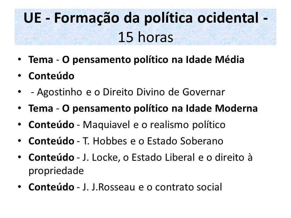 UE - Formação da política ocidental - 15 horas Tema - O pensamento político na Idade Média Conteúdo - Agostinho e o Direito Divino de Governar Tema -