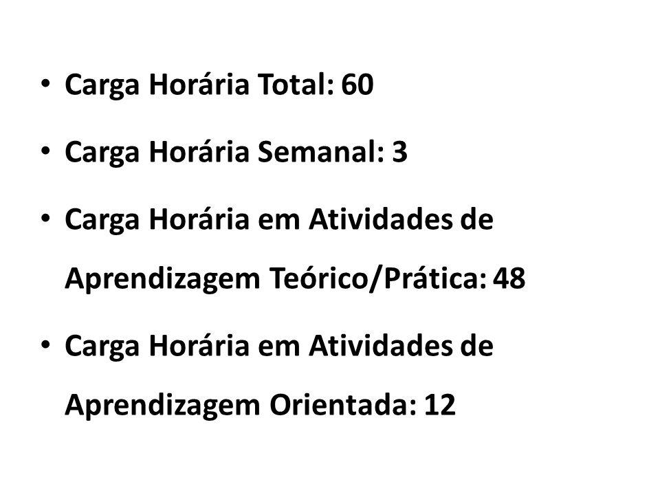 Carga Horária Total: 60 Carga Horária Semanal: 3 Carga Horária em Atividades de Aprendizagem Teórico/Prática: 48 Carga Horária em Atividades de Aprend
