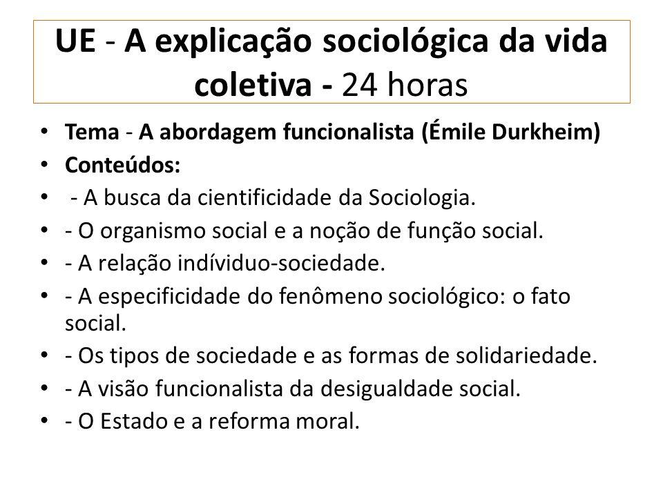 UE - A explicação sociológica da vida coletiva - 24 horas Tema - A abordagem funcionalista (Émile Durkheim) Conteúdos: - A busca da cientificidade da