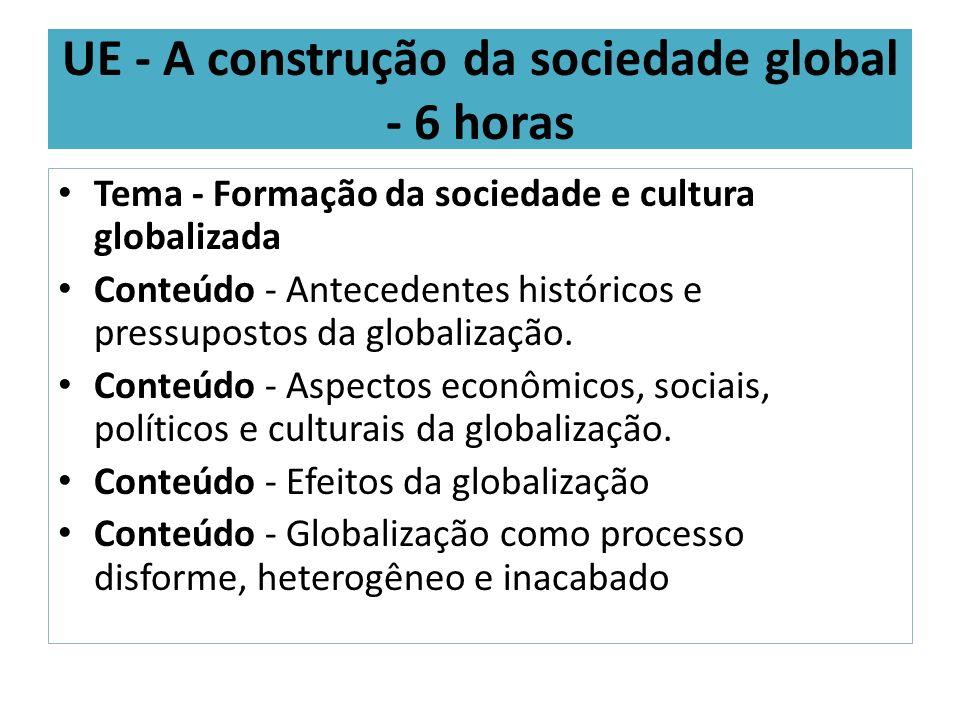 UE - A construção da sociedade global - 6 horas Tema - Formação da sociedade e cultura globalizada Conteúdo - Antecedentes históricos e pressupostos d