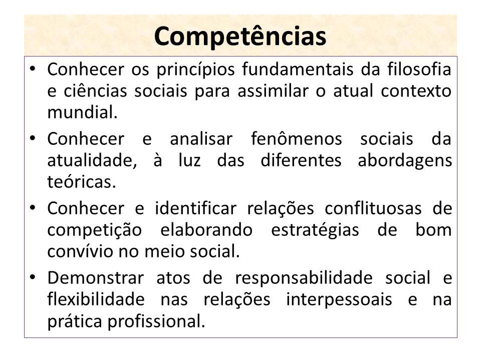 Competências Conhecer os princípios fundamentais da filosofia e ciências sociais para assimilar o atual contexto mundial. Conhecer e analisar fenômeno