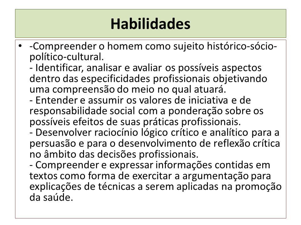 Habilidades -Compreender o homem como sujeito histórico-sócio- político-cultural. - Identificar, analisar e avaliar os possíveis aspectos dentro das e