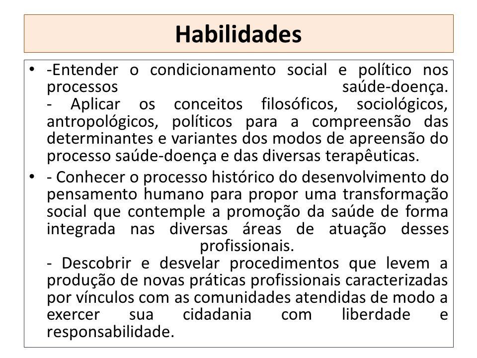 Habilidades -Entender o condicionamento social e político nos processos saúde-doença. - Aplicar os conceitos filosóficos, sociológicos, antropológicos